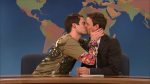 Stefon (Bill Hader) kissing Seth Meyers